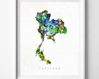 Thailand Map Print, Bangkok Print, Thailand Poster, Asia Map, Watercolor Painting, Wall Decor, Travel, Home Decor, Mothers Day Gift