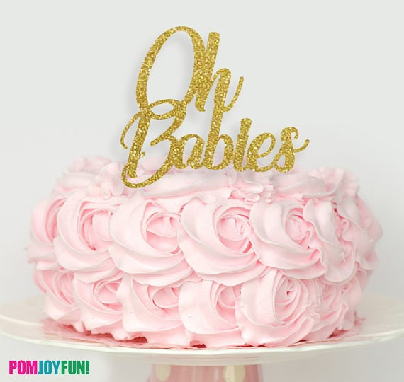 Twin Baby Shower Cake Toppers: OH Baby Cake Topper Or Oh Babies Twins Cake Topper, Twins