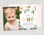 Photo First Birthday Invitation, Girl First Birthday Invitation, Watercolor Flowers, One Birthday Invitation Card, Printable, Digital File