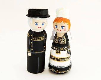 Custom Breton figurines - peg doll breton - Cake toppers Brittany - Wedding Cake toppers