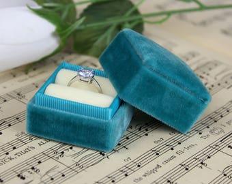 Velvet Ring Box Turquoise and Cream, Handmade ST