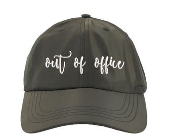 OUT of OFFICE Satin Dad Hat, Embroidered Cursive Baseball Cap 90s Style Hat, Olive Green