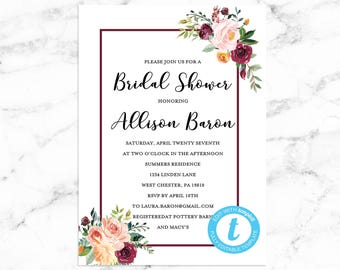 Floral Bridal Shower Invitation - Editable Instant Download - RILEY FLORAL