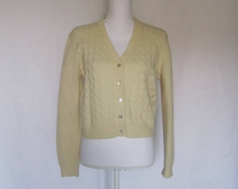 M.J. Carroll Vintage Womens Girls Off-White V-neck Button-up Sweater Cardigan size S