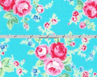 Turquoise & Pink Roses Fabric, Floral Quilt Fabric, Lecien Flower Sugar Paisley 31425 70, Shabby Floral Fabric, Cotton