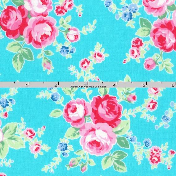 Turquoise & Pink Roses Fabric Floral Quilt Fabric Lecien : floral quilting fabric - Adamdwight.com