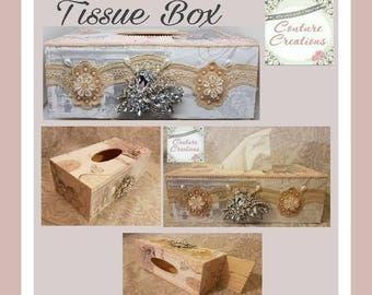 Wooden vintage style tissue box holder