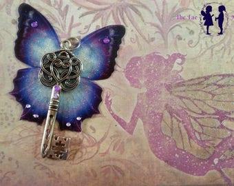 Beautiful Purple Winged Key Pendant
