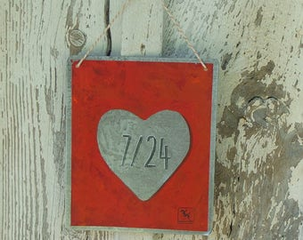 Valentines's day Zinc red love plate