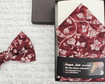 Pocket square, floral pocket square, burgundy and grey floral pocket square