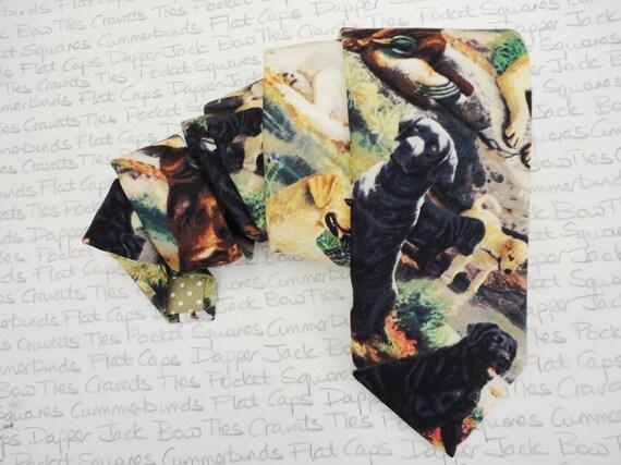 Ties for men, Labrador print neck tie, black and brown Labradors