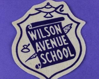 Wilson Avenue School Kitchener Ontario Vintage Felt Patch