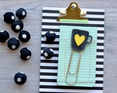 Jumbo Paper Clips. Coffee Cup with Heart.