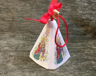 Festive Fragrance Ornament from Gift Co,  Potpourri Ornament, Pyramidal Shaped, Christmas Ornament, Red Cord, Fragrance Ornament
