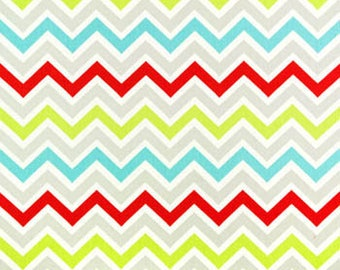 Premier Prints Zoom Zoom Harmony, zig zag, chevron, twill, red, aqua, lime, white.  Bright multi color chevron home dec