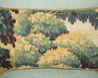 Antique Eighteenth Century Flemish Verdure Tapestry Cushion - Pillow - Foliage