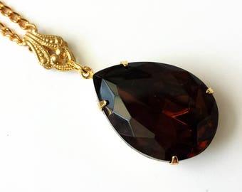 Dark Topaz Drop Necklace Pendant Necklace Topaz Rhinestone Necklace  Brown Teardrop Rhinestone Necklace Topaz Gold Drop Necklace
