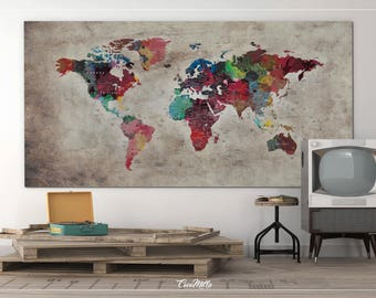 World map canvas etsy world map push pin large world map canvas print map abstract world map gumiabroncs Image collections