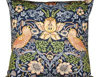 William Morris Strawberry Thief Indigo & Mineral Cushion Cover