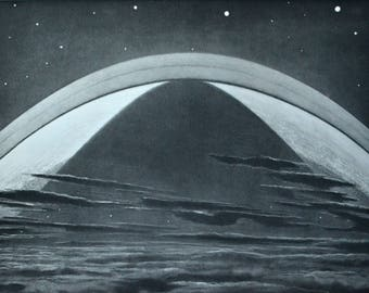 Saturn ring. Astonomy print. Old book plate, 1937. Antique  illustration. 80 years lithograph. 9'4 x 12'1 inches.