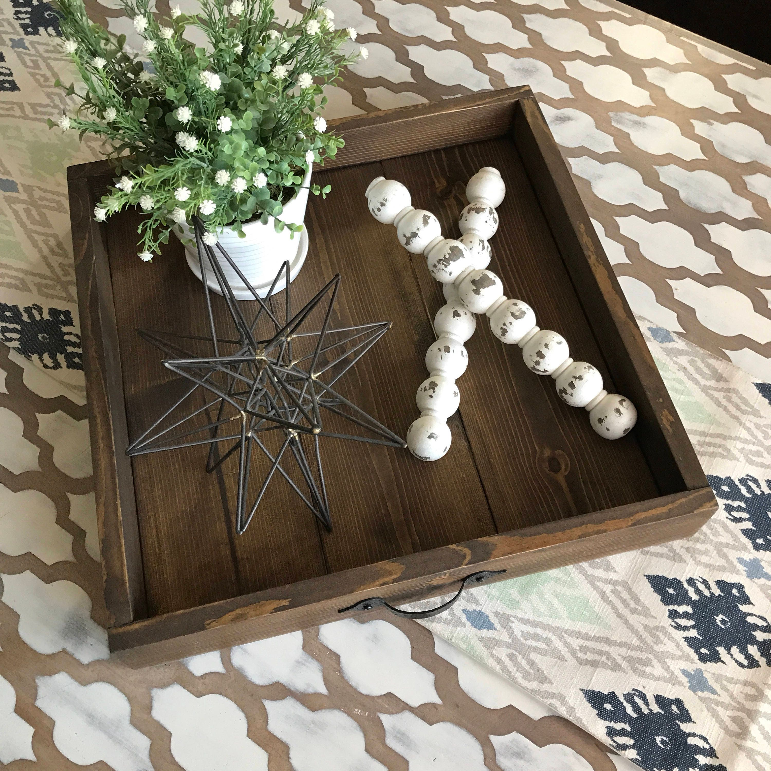 Rustic Wood Coffee Table Tray Home Decor Ottoman Tray