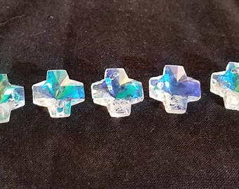 Set of 50 Cross Crystals ~ 14mm AB (Aurora Borealis) Color