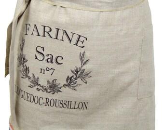 Low 1 apron Pocket 45cm X 87 cm 100% natural linen
