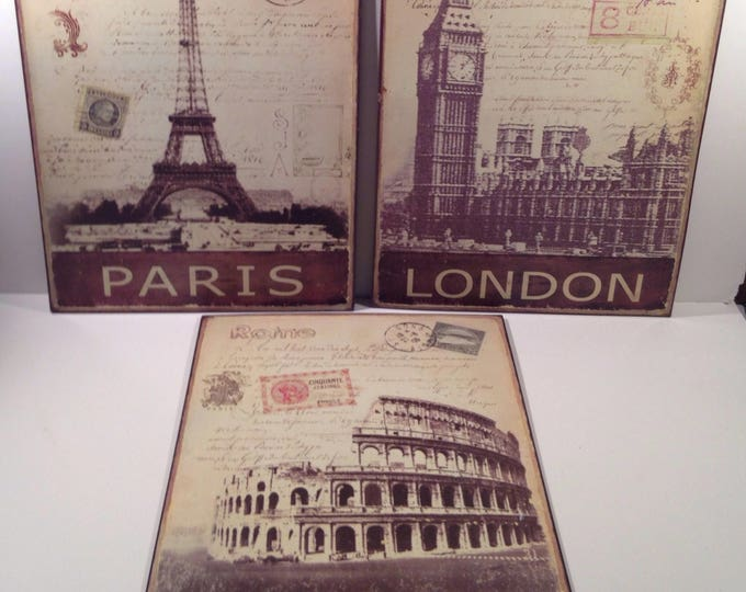 Vintage Sepia Metal Sign Reproductions of Paris, London and Rome offered by Crafts by the Sea and Island Images Studio
