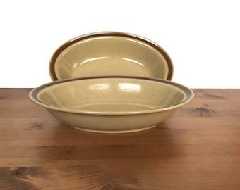 Vintage Hearthside oval vegetable bowls stoneware serving dishes dogwood