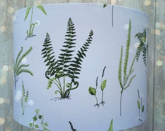 Green Ferns on Crisp  White fabric covered lampshade . 15cm diameter up to 35cm diameter sizes.