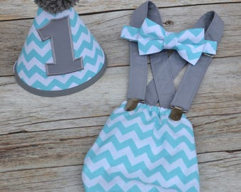 Boy Cake Smash Outfit, Boy 1st Birthday, Cake Smash Outfit, Party Outfit, Bow tie, Diaper Cover set, Smash Cake Outfit, Light aqua chevron