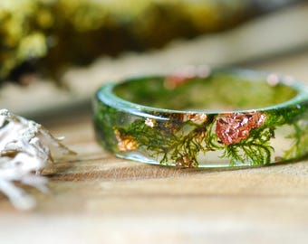 Moss Ring, Men Ring, Nature Ring, Resin Copper Ring, Forest Ring, Anniversary Ring, Father's Day Gift, Mountain Ring, Gift for Him, For Her