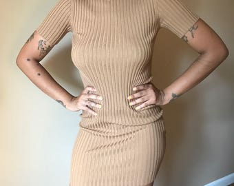 Sand Brown Ribbed Dress