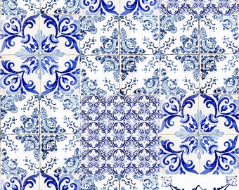 Vintage wall tiles photography, Portuguese azulejos print, collage, abstract photography, dark blue print, art print, home decor, wall decor