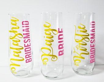 Bridesmaid Gift, Bridesmaid Champagne Glasses, Champagne Flutes,Bridesmaid Glasses, Stemless Champagne Flutes