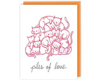 Love Card - Piles of Love- Cat Lover Gift - Handmade Greeting Card