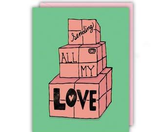 Love Card - Sending All My Love, Handmade Greeting Card