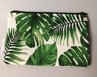 Tropical Monstera Pencil Case / Make Up Bag