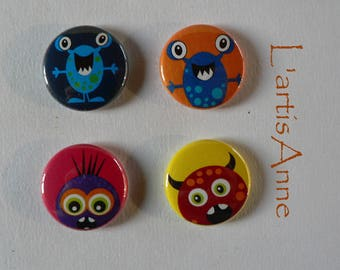 Set of 4 Mini Magnets magnets or badges friendly monsters.