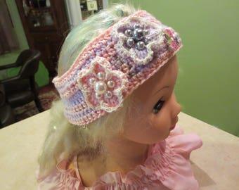 Crochet Headband, pink and Purple Headband for Girls, Headband with flowers,