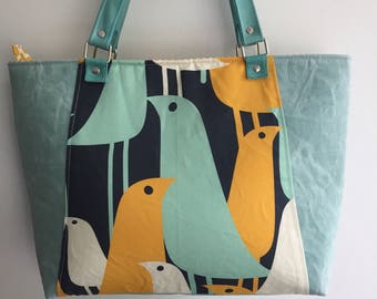 Shoulder bag, top handle bag, SALE, waxed canvas tote bag, bird bag, summer tote bag