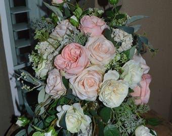 Boho Bouquet, Rose Bouquet, Garden fresh Bouquet, Brides Bouquet, Wedding Bouquet, Bride Maid Bouquet