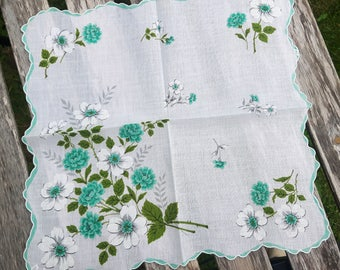 Vintage cotton handkerchief white with print flowers