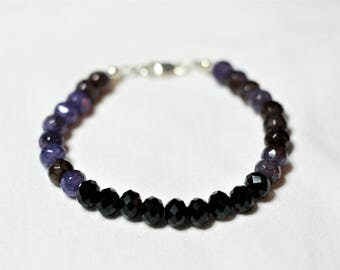 "8"" onyx and purple stone bracelet"