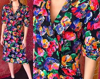 Boho Floral Dress Summer Flower Slinky Dress Vintage 80s Danny Nicole Dress