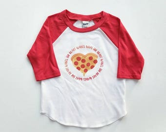The heart wants  - Pizza Shirt - Pizza Party - Boy Valentine Shirt - Valentine raglan - Boy Heart Shirt - toddler valentine outfit
