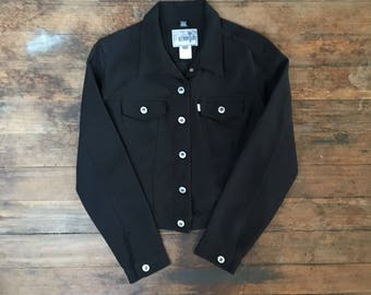 Vtg Levis Polyester Jacket - Medium Womens - Black Jacket - Vintage Clothing - Levi Strauss -