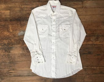 VTG Tem Tex Western Shirt - XL - Cowboy Shirt - Rockabilly - Vintage Clothing - Beige Striped - Button Down Shirt - Snap Buttons -