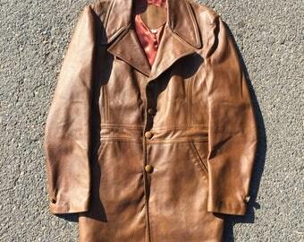 Vintage 70s Leather Trenchcoat - Large - Brown Leather Jacket - Vintage Clothing - Long Jacket - 1970s - Big Collar -