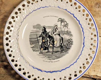 Antique dessert dish Creil et montereau LM&CIE /Mid 19th century ironstone dessert dish Motif Virgin mary and baby jesus